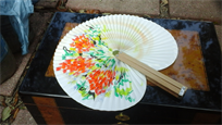Beautiful handmade paper folding fan
