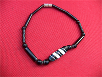 Black Coral Bracelet, horn and sterling inlays