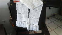 Beautiful handmade scarf, white color
