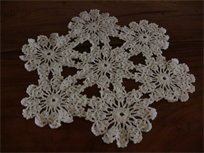 "Beautiful white crochet table cover, 20 1/4"" diameter"